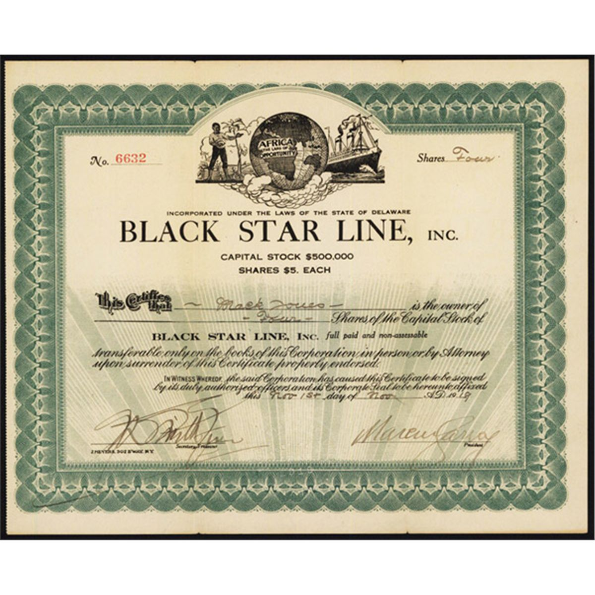 The Black Star Line was incorporated 96 years ago today
